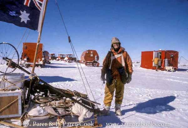 "From the Archives: 1981_9. Liz Parer-Cook on the polar plateau inland from Mawson Base, summer 1982. ""We set up a base camp near Mount Henderson with 2 dog teams to re-enact Douglas Mawson's famed yet tragic sledging journey of 1912-13 – an amazing experience."""